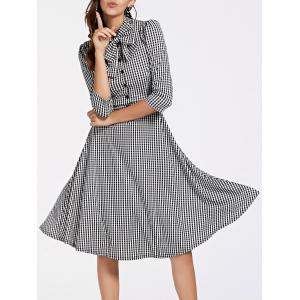 Stylish 3/4 Sleeve Bow Tie Collar Buttoned Women's Plaid Dress
