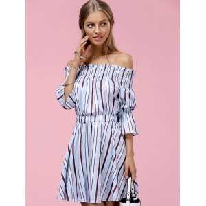 Off The Shoulder Striped Mini Dress - LIGHT BLUE ONE SIZE(FIT SIZE XS TO M)