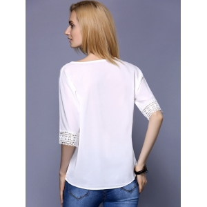 Fashionable Scoop Neck 1/2 Sleeve Lace Panelled Blouse For Women -