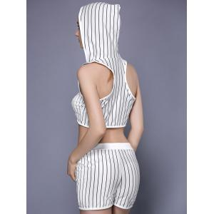 Fashionable Racerback Striped Top and Shorts Set For Women -