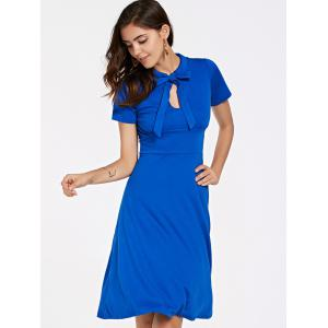 Stylish Short Sleeve Bow Tie Neck Women's Flare Dress -