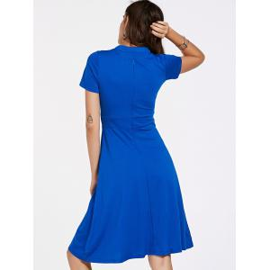 Stylish Short Sleeve Bow Tie Neck Women's Flare Dress - BLUE M