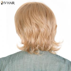 Women's Fluffy Siv Hair Inclined Bang Short Human Hair Wig -