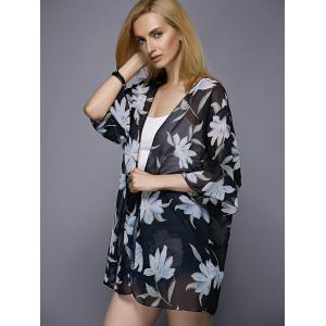 Casual Collarless Floral Print 3/4 Sleeve Kimono Blouse For Women -