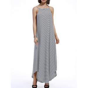 Spaghetti Strap Casual Striped Maxi Dress - Stripe - L