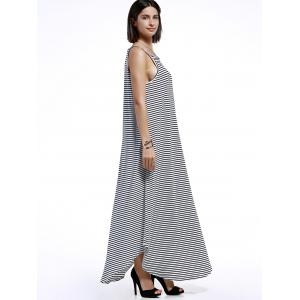 Spaghetti Strap Casual Striped Maxi Dress - STRIPE XL