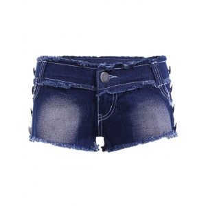 Casual Butterfly Squins Frayed Denim Shorts For Women -