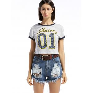 Leisure Style Round Neck Short Sleeve Letter Print Slimming Women's T-Shirt -