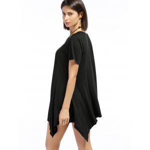 Chic Round Neck Short Sleeve Asymmetrical Pure Color Women's T-Shirt -