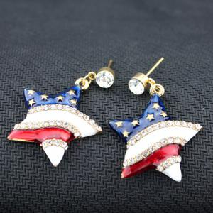 Pair of Rhinestone Star American Flag Design Pendant Earrings