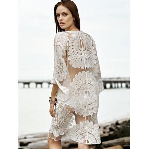 Stylish 3/4 Sleeve Embroidery See-Through Women's Cover Up -