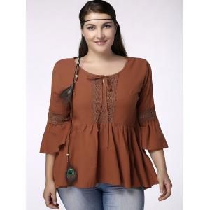 Sweet Plus Size Jewel Collar Flounced Sleeve Lace Spliced Hollow Out T-Shirt For Women -