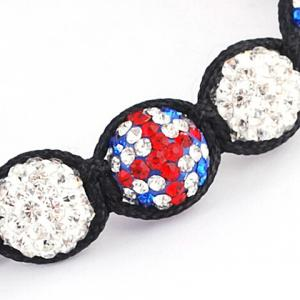 Union Flag Red White and Blue Ball Weaving Bracelet - WHITE