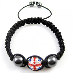 Union Flag Design Beaded Weaving Bracelet - Black