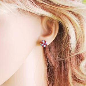 Pair of Union Flag Ball Shape Alloy Stud Earrings -