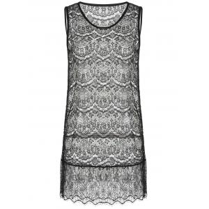 Trendy Short Sleeve Furcal Sweater + Mini Lace Sundress Women's Twinset -