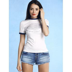 Brief Round Neck Figure Print Short Sleeve T-Shirt For Women - WHITE L