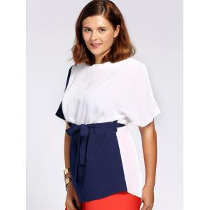 Chic Short Sleeve Color Block Waist Tied Plus Size Blouse For Women - COLORMIX 3XL