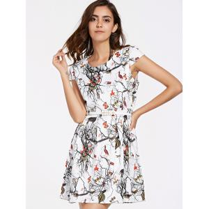 Belted Printed Mini Flare Dress - WHITE XL
