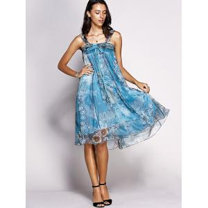 Trendy Feathers Print Tie Front Chiffon Dress For Women -