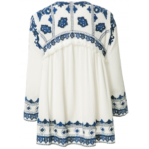 Sweet Style Jewel Neck Blue Floral Embroidery Tie-Up Long Sleeve Coat For Women -