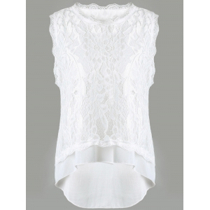 Gorgeous Lace Round Neck Tank Top and Shorts Set For Women -