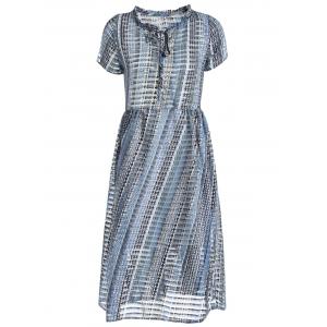 Sweet Lace Tank Top and Round Neck Short Sleeve Printed Dress For Women -