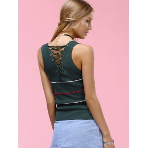 Striped Back Criss-Cross Knitted Tank Top -