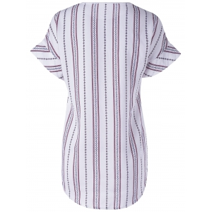 Fashionable Round Neck Short Sleeve Striped Blouse - STRIPE L