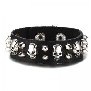 Vintage Faux Leather Skulls Rivet Bracelet - Black