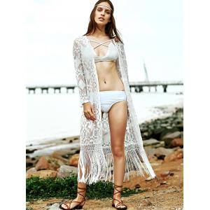 Stylish Collarless Long Sleeve Solid Color Fringe Lace Women's Cover Up -