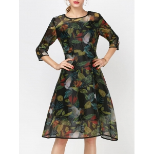 Fashionable Round Collar Long Sleeve Printed Organza Dress - Ink Painting - M