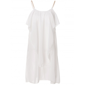 Stylish Spaghetti Strap Solid Color Ruffled Chiffon Dress For Women - White - L