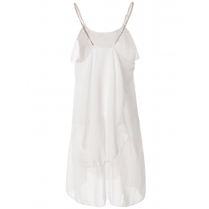 Stylish Spaghetti Strap Solid Color Ruffled Chiffon Dress For Women - WHITE L