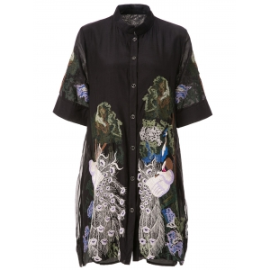 Retro Style Stand Collar Peacock Embroidery Short Sleeve Dress For Women