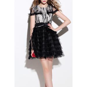 Lace Panel Tiered A Line Dress -