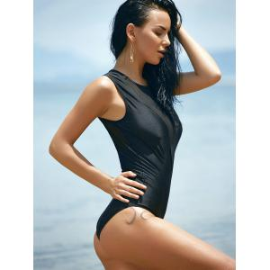 s 'Maillots de bain Chic Crew Neck Mesh Patchwork Solid Color One-Piece Femmes - Noir M