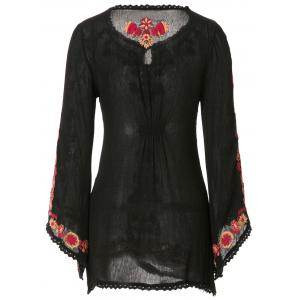 Ethnic Style V-Neck Floral Embroidery Lace Splicing Long Sleeve Dress For Women -