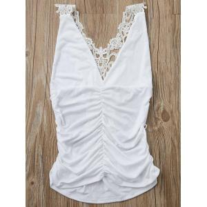 Sexy Plunging Neck Sleeveless Solid Color Cut Out Women's Tank Top - White - S