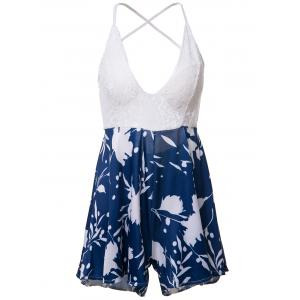 Sexy Spaghetti Strap Open Back Printed Criss-Cross Women's Romper - Blue And White - M