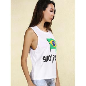 Stylish Scoop Neck Brazilian Flag Tank Top For Women -