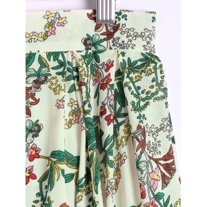 Elegant Floral Printing Zipper Skirt For Women -