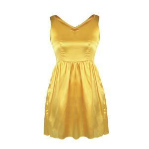 V Neck Satin Mini Skater Cocktail Night Out Dress - Yellow - S