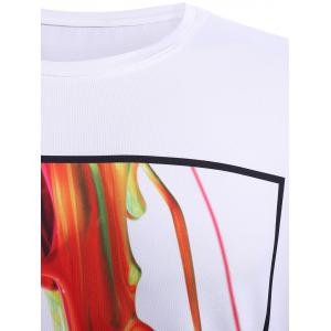 Round Neck Stylish 3D Coloful Pigment Print Short Sleeve T-Shirt For Men -