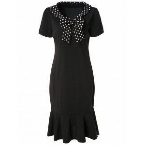 Vintage V-Neck Short Sleeve Polka Dot Bowknot Women's Fishtail Mermaid Dress - Black - S