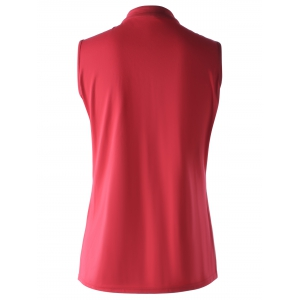 Stylish Stand Collar Red Wrap Top For Women -