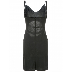 Spaghetti Strap Sleeveless Low-Cut Hollow Out Casual Dress - BLACK M