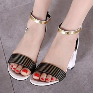 Simple Style Striped and Metal Design Sandals For Women -