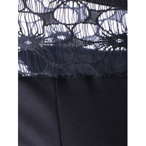 Fashionable Round Collar Lace Spliced Cuff Fringed Skinny Dress For Women - BLACK S
