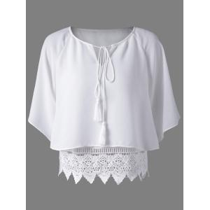 Trendy Round Collar Lace Spliced Hollow Out Pure Color Women's Blouse